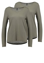Only Onlalva 2 Pack Long Sleeved Top Kalamata Khaki