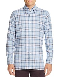 Canali Check Classic Fit Button Down Shirt Light Blue