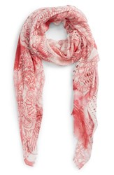Nordstrom Print Modal And Silk Scarf Pink Mystical Beauty