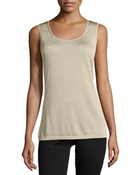 Lafayette 148 New York Scoop Neck Sleeveless Shell Champagne