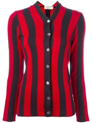 Maison Kitsune Striped Cardigan Red