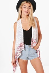Boohoo Aztec Trim Sleeveless Cardigan White