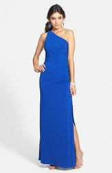 Women's Laundry By Shelli Segal Beaded Panel One Shoulder Jersey Gown Blue Beret