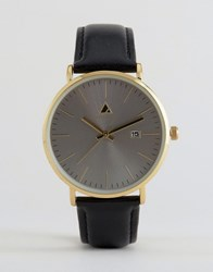 Asos Watch With Leather Strap And Date Window Black
