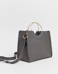 Yoki Fashion Tote Bag With Structured Handle Gray