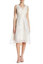 Sangria V Neck Lace Embroidered Sleeveless Dress Petite White