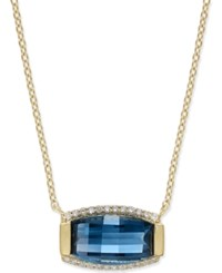 Macy's Blue Topaz 3 Ct. T.W. And Diamond 1 8 Ct. T.W. Pendant Necklace In 14K Gold Over Sterling Silver Yellow Gold