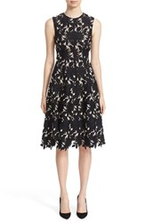 Lela Rose Women's Floral Guipure Lace Fit And Flare Dress