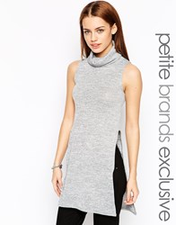 New Look Petite Cowl Neck Tunic With Side Split Grey