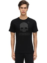 Hydrogen Icon Skull Cotton Jersey T Shirt Black