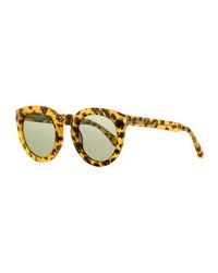 Saint Laurent Chunky Round Leopard Print Sunglasses Brown Brown Patterned