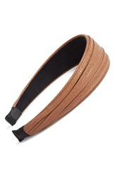 Cara Faux Leather Headband Cognac