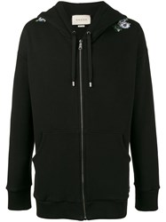 Gucci Oversized Dragon Embroidered Hoodie Men Cotton M Black