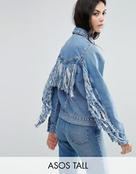 Asos Tall Denim Jacket In Midwash Blue With Fringed Back Blue