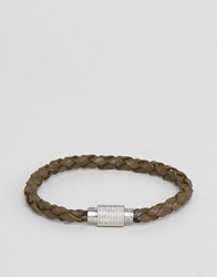 Polo Ralph Lauren Braided Leather Bracelet In Olive Olive Green