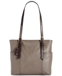 Tignanello Pebble Leather Millie Tote Shittake Dark Brown