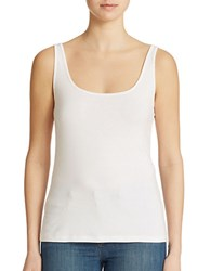 Lord And Taylor Plus Iconic Fit Slimming Scoopneck Tank White