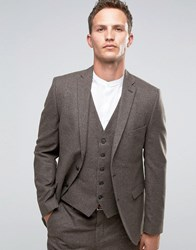 Selected Homme Blazer In Wool Mix Brown