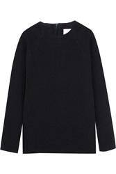 Studio Nicholson Oak Stretch Wool Blend Crepe Sweater Blue