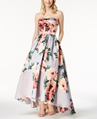 Betsy And Adam Floral Print Strapless Ballgown Silver