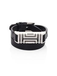 Tory Burch For Fitbit Leather Double Wrap Bracelet Goldtone Black