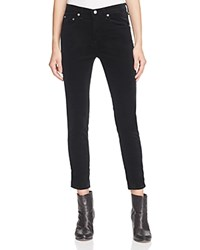 Rag And Bone Jean Five Pocket Skinny Jeans In Black Velvet