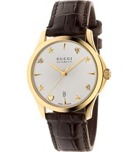 Gucci G Timeless Yellow Gold Toned And Leather Watch