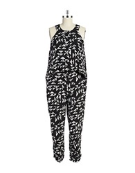 Design Lab Lord And Taylor Patterned Popover Jumpsuit Black White