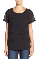 Women's Pleione Tiered Lace Trim Top Black
