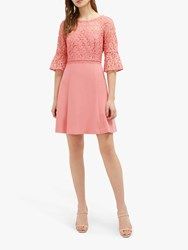 French Connection Whisper Ruth Round Neck Dress Pink Whip