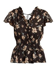 Rebecca Taylor Floral Print Ruffled Silk Blend Blouse Black Multi