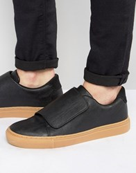 Asos Trainers In Black With Strap And Gum Sole Black