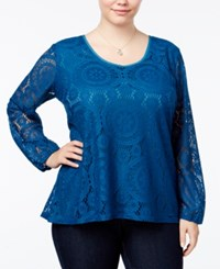 Ing Trendy Plus Size Lace Top Teal