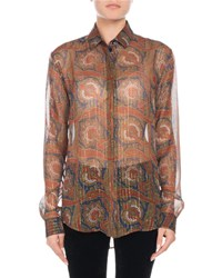 Saint Laurent Long Sleeve Button Front Metallic Paisley Silk Shirt Black Pattern