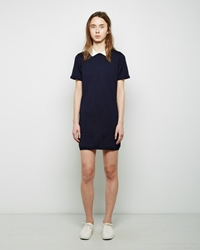 Maison Kitsune Contrast Collar Openwork Dress Navy