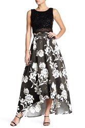 City Triangles 2 Piece Sequin Crop Top And Floral Hi Lo Skirt Set Black