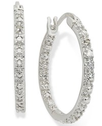 Victoria Townsend Sterling Silver Earrings Diamond Accent Hoop Earrings No Color