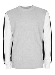 Topman Grey White And Black Knit Insert Jumper