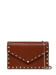 Valentino Garavani Rockstuds Leather Envelop Shoulder Bag Cognac