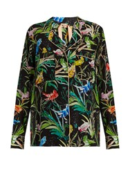 N 21 Bird Print Silk Crepe Shirt Black Multi