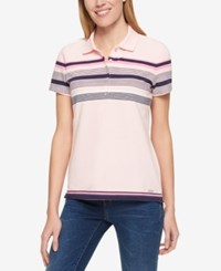 Tommy Hilfiger Short Sleeve Striped Polo Only At Macy's Ballet Pink Navy Stripe