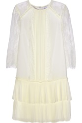 Alice By Temperley Hemingway Georgette And Lace Mini Dress White