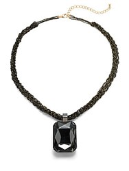 Natasha Beaded Pendant Necklace Black Gold