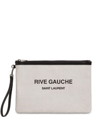 Saint Laurent Printed Canvas Beach Pouch Blanc Noir