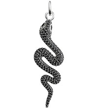 Thomas Sabo Glam And Soul Black Sterling Silver And Diamond Snake Pendant