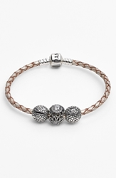 Pandora Design Leather Charm Bracelet Set Champagne