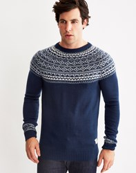 Bellfield Dalvik Fairisle Jumper Blue Navy