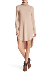 Go Couture Long Sleeve Sweater Dress Brown