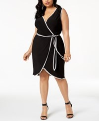 Love Squared Trendy Plus Size Piped Faux Wrap Dress Black White