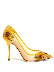 Dolce And Gabbana Sunflower Embroidered Point Toe Mesh Pumps Yellow Multi